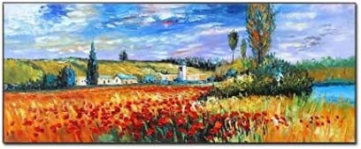 BO LAI DE Natural Scenery Paintings Art 100% Hand Painted Canvas Oil Painting Wall Art Scene Wall Pictures Large Art for Living Room Decor,80cmx160cm