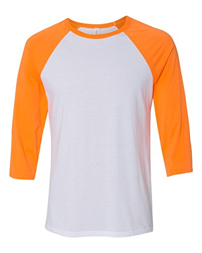 Bella 3200 Unisex 3 By 4 Sleeve Baseball Tee - White & Neon Orange, Small