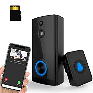 【32GB Preinstalled】WiFi Video Doorbell Camera 1080P HD with Chime, No Monthly Fees, Wireless Doorbell with 2 Way Audio, Motion Detector, Night Version, Rechargeable Batteries, IP65 Waterproof Geoyeao