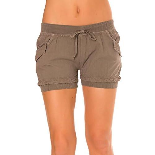delicate dmarkevous - Short mini taupe FEMME à élastique sur jambe et  ceinture. Poche sur d4acf3a977d