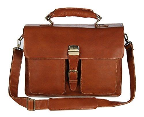 Everdoss Herren echt Leder Vintage-Look Handtasche Umhängetasche Kuriertaschen Schultertasche Aktentasche hell braun
