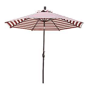California Umbrella GSPT908117-F85 9' Round Market Umbrella, Red/Natural Stripe Olefin