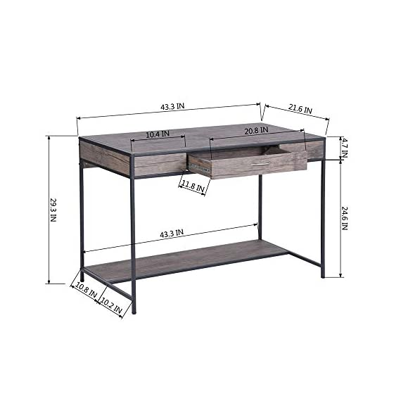 Aingoo Writing Computer Desk with Drawer Industrial Laptop Study PC Workstation Desk Table with Metal Frame for Home… -  - writing-desks, living-room-furniture, living-room - 41H2EOKrdfL. SS570  -