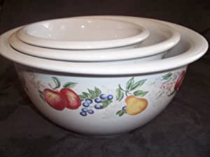 Corelle Coordinates Chutney 3 Piece Stoneware Mixing Bowl Set One, Two & Three Quart