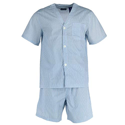 Fruit of the Loom Men's Long Sleeve Broadcloth Pajama Set, French Blue ()