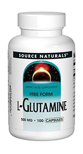 Source Naturals L-Glutamine 500mg Free Form Amino Acid Essential For Protein Synthesis - Pure - 100 Capsules