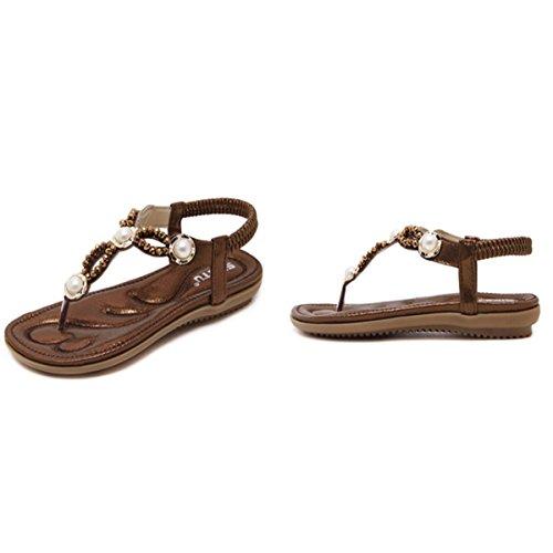 Plats Talon Femme Casuel Café Chaussures Perlées Sandales Toe de Style de Bohème Plage Décoracté Fanessy Clips Sandales Mode en 7qwxd7Pg
