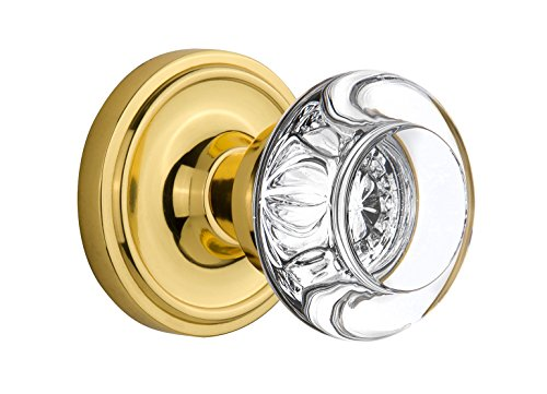 "Nostalgic Warehouse Classic Rosette with Round Clear Crystal Glass Knob, Passage - 2.375"", Polished Brass"