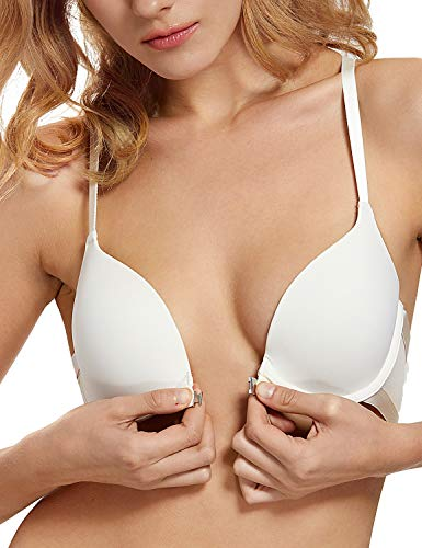 DOBREVA Women's Front Closure T-Shirt Push Up Adds 1 Cup Size Underwired Bra Ivory_Smooth 32C