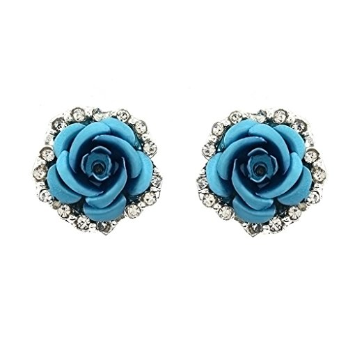 s Rose Flower Earring Studs for Women Girls, Diamond Cute Bling Stud Earrings Latest Fashion Jewelry (Blue) ()