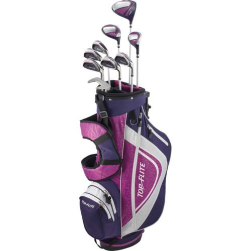 (Top Flite Complete Golf Club Set Womens 2018 Pink/Purple XL w/6-Way Stand Bag Ladies Flex RH - Graphite - Print)