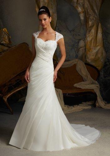 d6cf4aa9c59 Amazon.com   White Ivory Cap Sleeve Bridal Dress Organza Lace Wedding Dress  2014 Model-122   Beauty