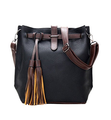 Really Leather Bag (Womens Leather Crossbody Purse Fashion Small Shoulder Bucket Bag Casual Travel Messenger Handbag with Tassel Black)