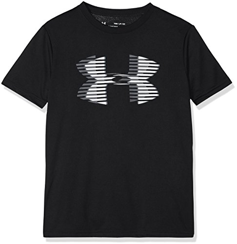 Under Armour Boys' Tech Big Logo Solid T-Shirt, Black (001)/Steel, Youth Medium ()
