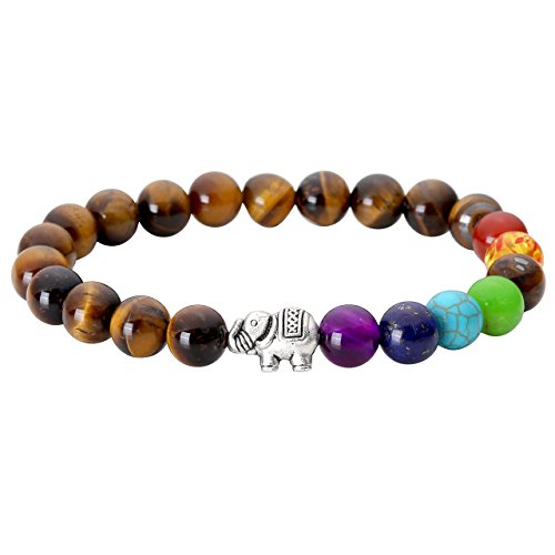 JOVIVI 7 Chakras Tiger Eye Stone Yoga Balancing Reiki Healing Elephant Lucky Charm - Luck Men For Gifts Good