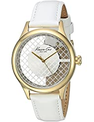 Kenneth Cole New York Womens Transparency Quartz Stainless Steel and White Leather Dress Watch (Model: 10026008)