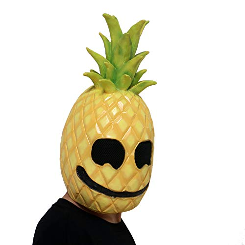 Livoty Halloween Mask Pineapple Fruit Face Head Mask Latex Costume Props Halloween Mask Toy (Yellow) ()