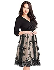 Look simply elegant in this classic empire cut midi dress. It is made stylish with a surplice V-neckline and wrap style top.The high waist detail camouflages your tummy area. Its sequin mesh detail on the skirt makes it great for cocktails an...
