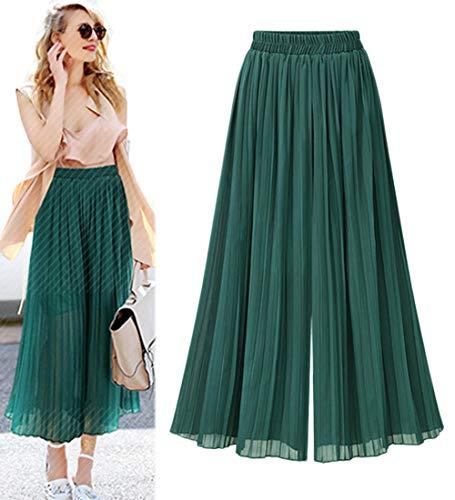 Innifer Women's Elastic Waist Chiffon Loose Pleated Wide Leg Palazzo Pants/Capri Overlay Pants Green ()