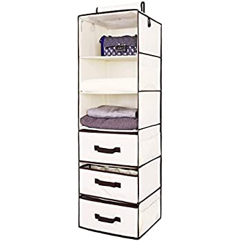 High Quality Hanging Closet Organizer, Foldable Closet Hanging Shelves With 2 Drawers U0026  1 Underwear Drawer By