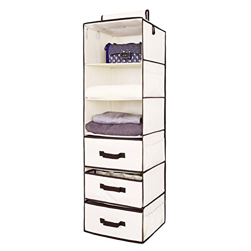 StorageWorks Hanging Closet Organizer with 2 Drawers & 1 Underwear Drawer, Foldable Polyester Canvas Hanging Accessory Shelves, Natural, 6-Shelf, 13.6x12.2x42.5 in