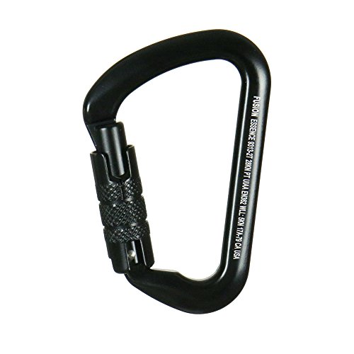 Fusion Climb Essence Military Tactical Edition Aluminum Triple Lock Key Nose Modified D UIAA Certified Carabiner Black