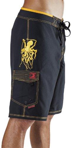 (Maui Rippers Men's Board Shorts - Octo Tako | Triple Stitch Quick Dry Men's Swim Trunks (32, Black))