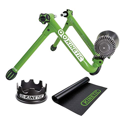 Kinetic Road Machine Fluid Trainer Bundle - Including Kinetic T750C Fixed Riser Ring and T741 Rubber Bicycle Trainer Floor Mat Black