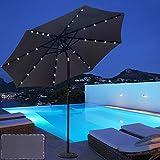 ABCCANOPY 9 FT Solar Powered Patio Umbrella 32LED Lights Solar Umbrella with Tilt and Crank,Dark Grey
