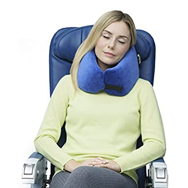 NEW Travelrest - Ultimate Memory Foam Travel Pillow - Therapeutic, Ergonomic & Patented - Washable Cover - Most Comfortable Neck Pillow -- Compresses to ¼ of it's Size