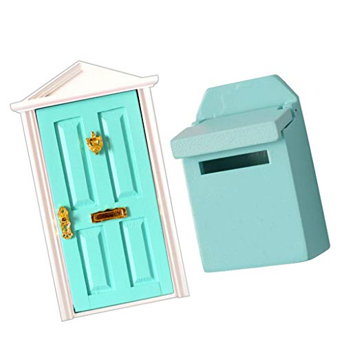Brosco 1:12 Dollhouse Miniature Accessories Wooden 4 Panels Door Mailbox 2pcs ()