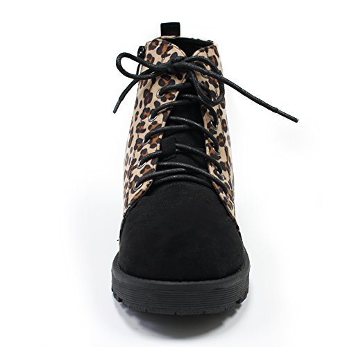 H2k Cool Womens Military Fashion Lace-up Combat Stivaletti Alla Caviglia Con Cerniera Laterale In Leopardo