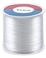 Jinlaili 500m/Roll 0.25mm Clear Nylon Wire,Fishing Wire,Clear Wire for Hanging Ornaments, Jewellery Making and Sew Hobby, Transparent Beading Thread Non-Stretchy Beading Threads