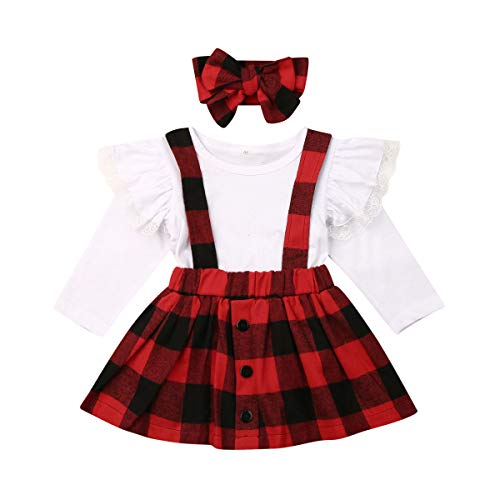 2PCS Toddler Baby Girls Summer Outfits Set Short Sleeve Tops+Suspender Skirt Overall Clothes Set (T-Shirt+Red Plaid Skirt, 2-3 Years) (Cute Christmas Day Outfits)