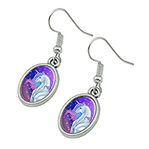 GRAPHICS & MORE Majestic Unicorn Pink Purple Blue Novelty Dangling Drop Oval Charm Earrings