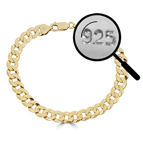 - Harlembling Men's Flat Cuban Link Bracelet 14k Gold Over Solid 925 Sterling Silver Bracelet - 8.5