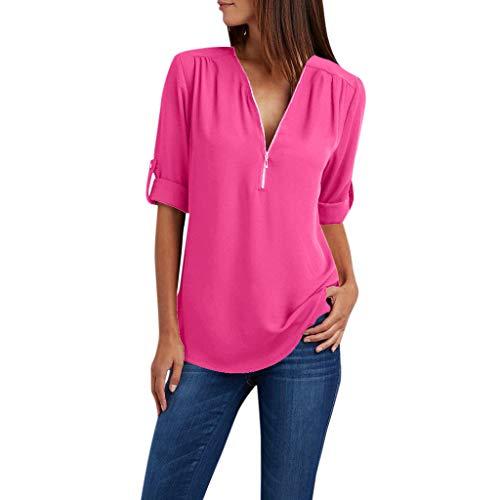 Shusuen Women's Casual V Neck Cuffed Sleeves Solid Chiffon Blouse Top Zipper Shirts Work Formal Wear Hot Pink