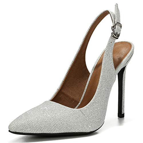 - LIURUIJIA Womens Office Basic Slip on Pumps Slingback Stiletto High-Heel Pointy Toe Shoes for Party Dress Silver sequins-40 (250/US8)