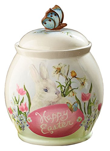 """Used, Happy Easter Bunny Rabbit 9 1/2"""" Tall Cookie Storage for sale  Delivered anywhere in USA"""