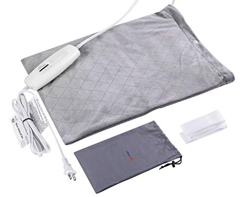 (Boncare Heating Pad Dry/Moist Electric Heat Therapy Option for Pain Relief, Heating Pads for Back Pain Auto Shut Off,FDA Approved, 4 Heat Settings, Storage Bag 12'' x 15''Large Size (Light)