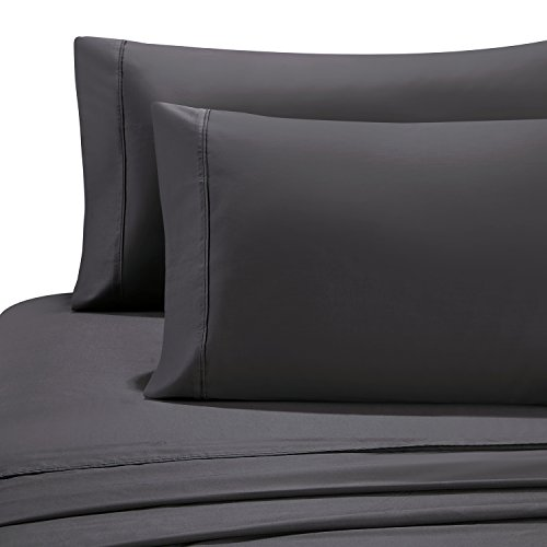 HollyHOME 100% Cotton Hotel Collection 4 Pieces 600 Thread Count Deep Pocket Bed Sheet Set, Queen Size, Grey