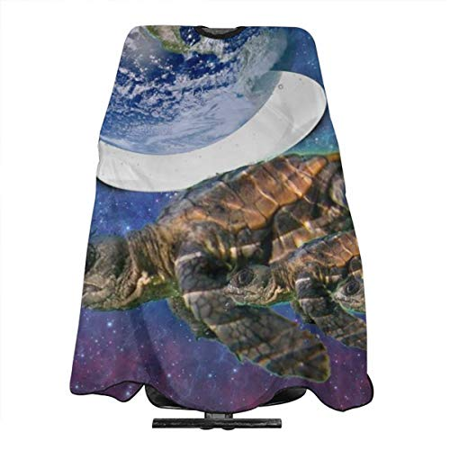 (VIVIAN RICE Professional Salon Hair Cut Cape,Apron with Adjustable Snap Closure,Hairdressers and Barbers Sea Turtle Earth,Easy Clean,Lightweight)