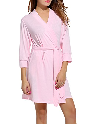 (Hotouch Women Robe Soft Kimono Robes Cotton Bathrobe Sleepwear Loungewear Short Pink XL)