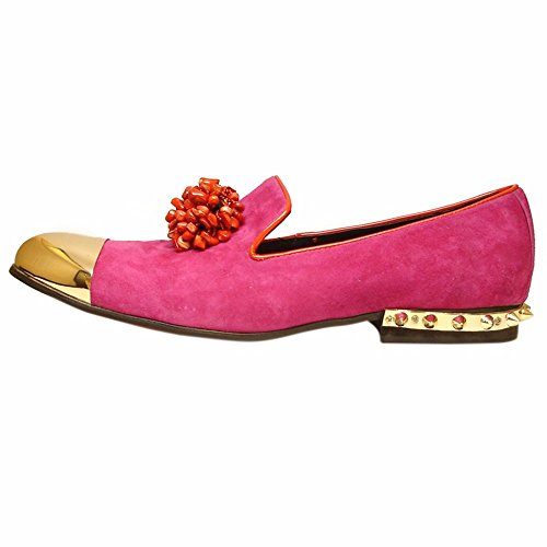 Slip Fashion Fuchsia ONS Leather and with for Mens Stone Leather Fucsia Men Fiesso Fashion Shoes Genuine Footwear 5B6wqC