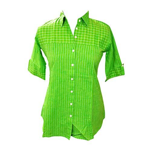 Women's Cotton Checks Collar Green Color Western Shirt