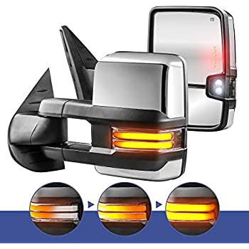 Power Heated Towing Mirrors for Chevy Silverado 2014-2018 GMC Sierra 2014-2018 with Running Lamp Reversing Lamp chroming housing OCPTY Rearview Mirrors