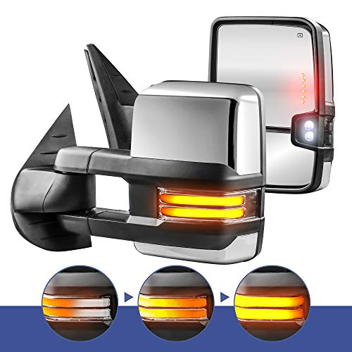 - MOSTPLUS New Power Heated Chrome Towing Mirrors for Chevy Silverado Suburban Tahoe GMC Serria Yukon 2008-2013 w/Sequential Turn light, Clearance Lamp, Running Light(Set of 2)