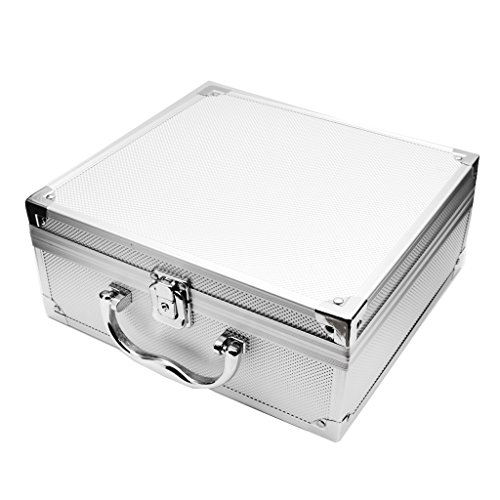 SunniMix Aluminum Alloy Travel Tattoo Body Art Machine Case Carrying Box Organizer With Lock Silver Black 24.522.511CM/9.568.784.29 inch - (Aluminum Alloy Tattoo Machine)