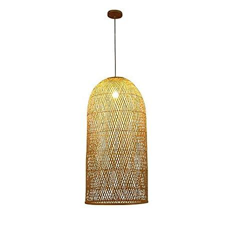 ANDEa Lámpara de bambú, luces colgantes de la escalera Luz ...