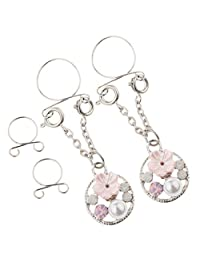 Prettyia 2Pcs Imitation Pearl Flower Stainless Steel Ring Non-Piercing Clip On Adjust